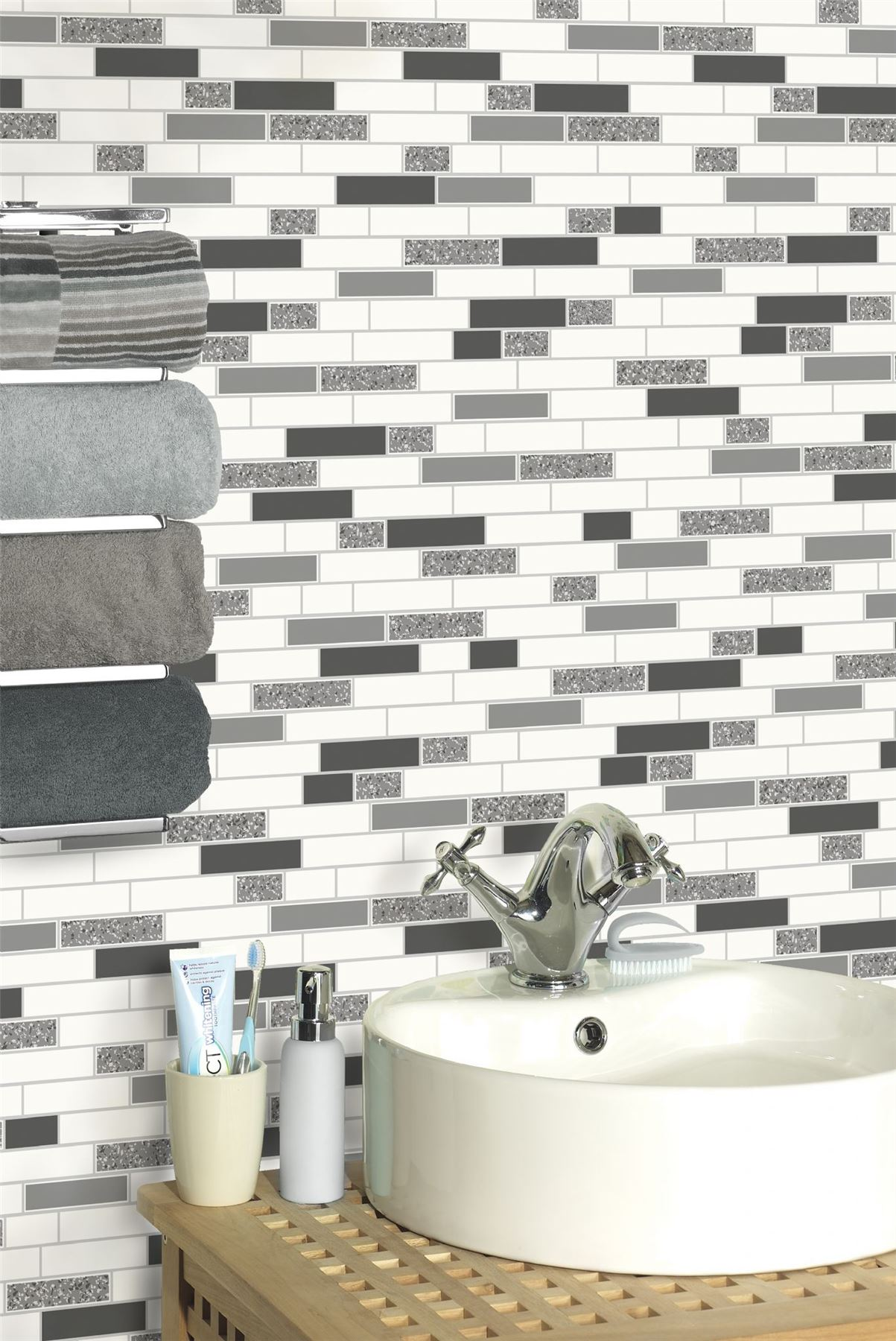 Oblong-Stone-Tile-Kitchen-Bathroom-Wallpaper-Vinyl-Silver-Glitter-Holden-Decor thumbnail 9