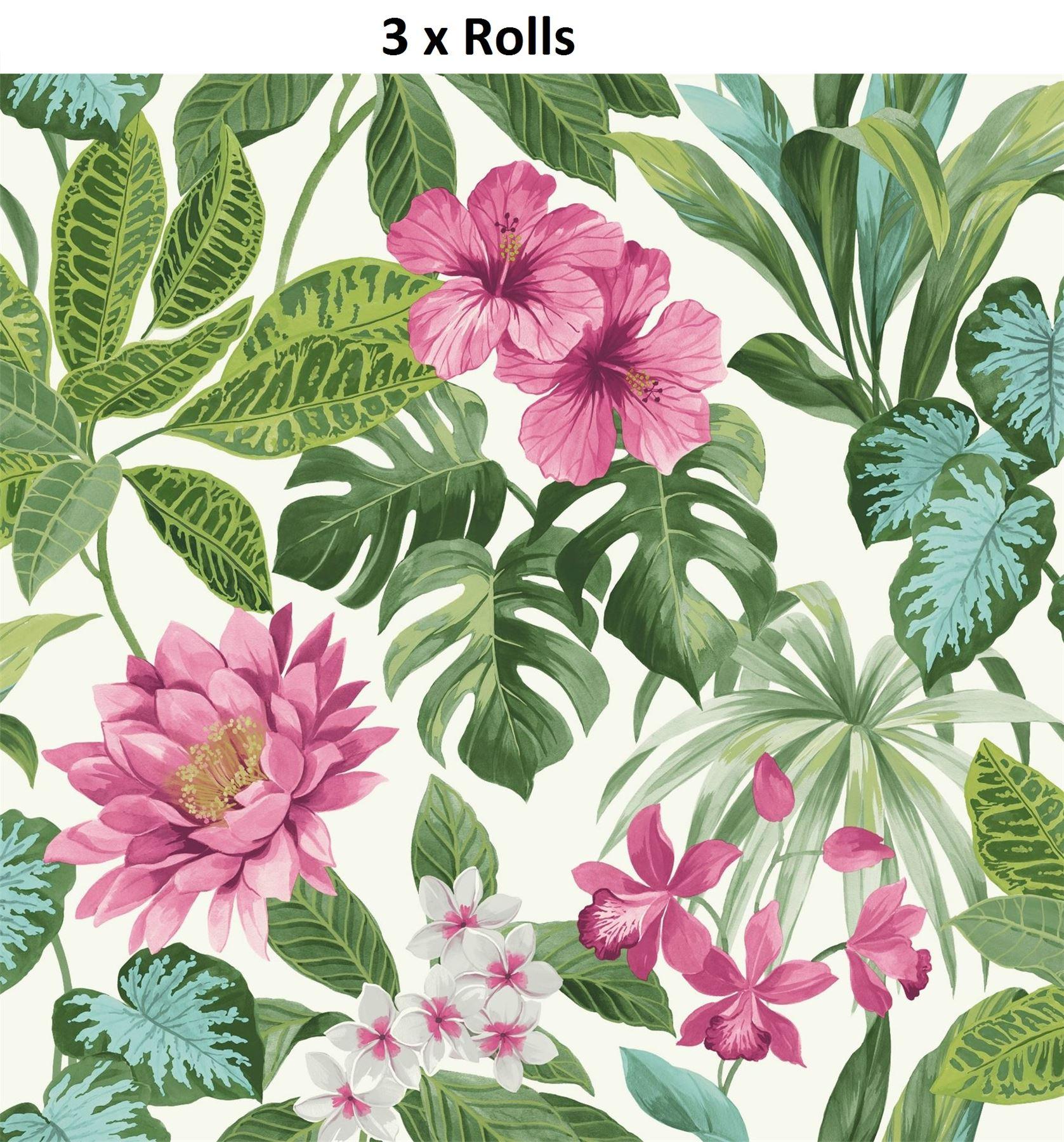 3 X Tropical Palm Leaf Floral Wallpaper Rainforest Flower Green