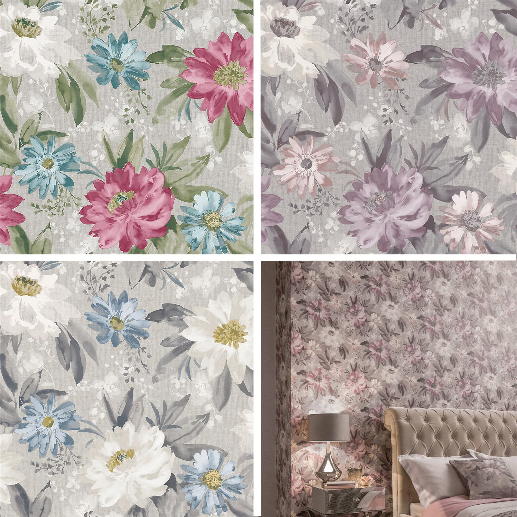 Arthouse Painted Dahlia Floral Wallpaper Flowers Pink Lilac Blue