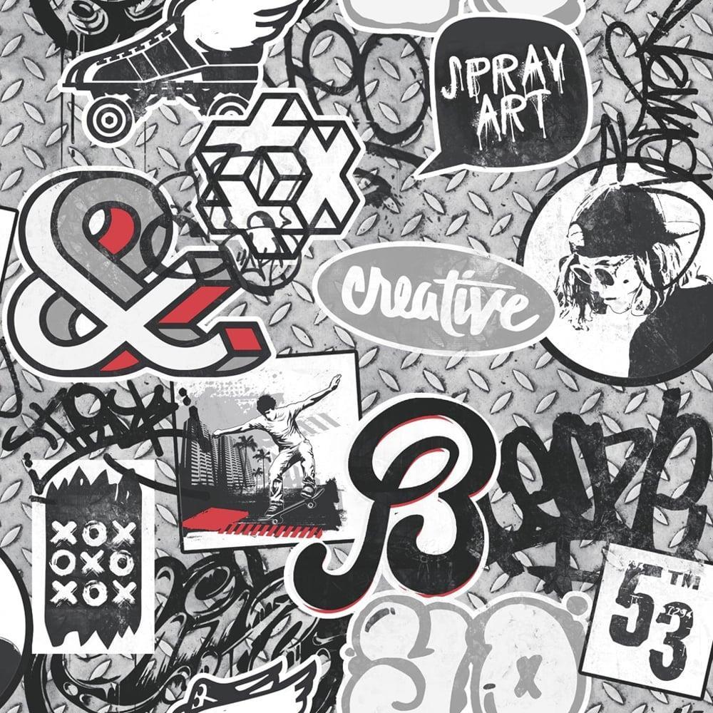 Scrap Metal Graffiti Wallpaper Red Grey Skater Iron Paint Motif
