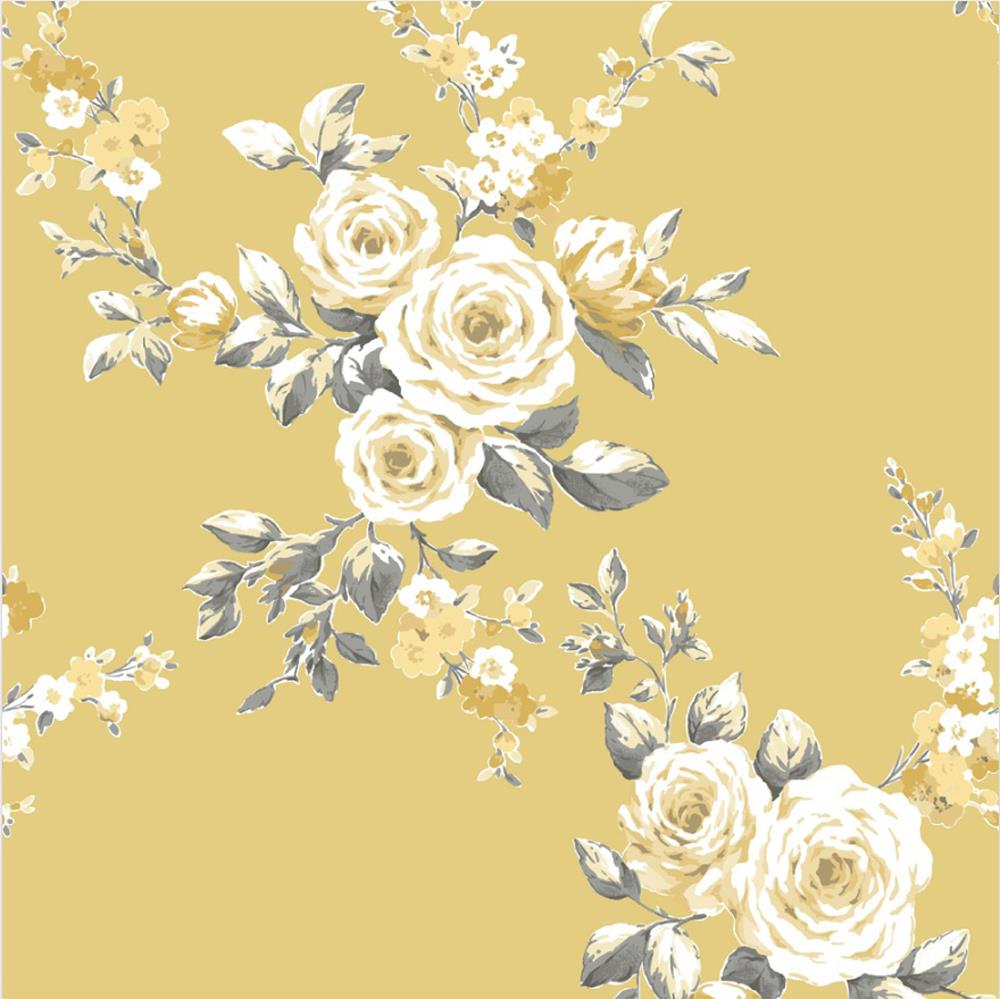Catherine Lansfield Canterbury Floral Ochre Wallpaper Yellow Grey