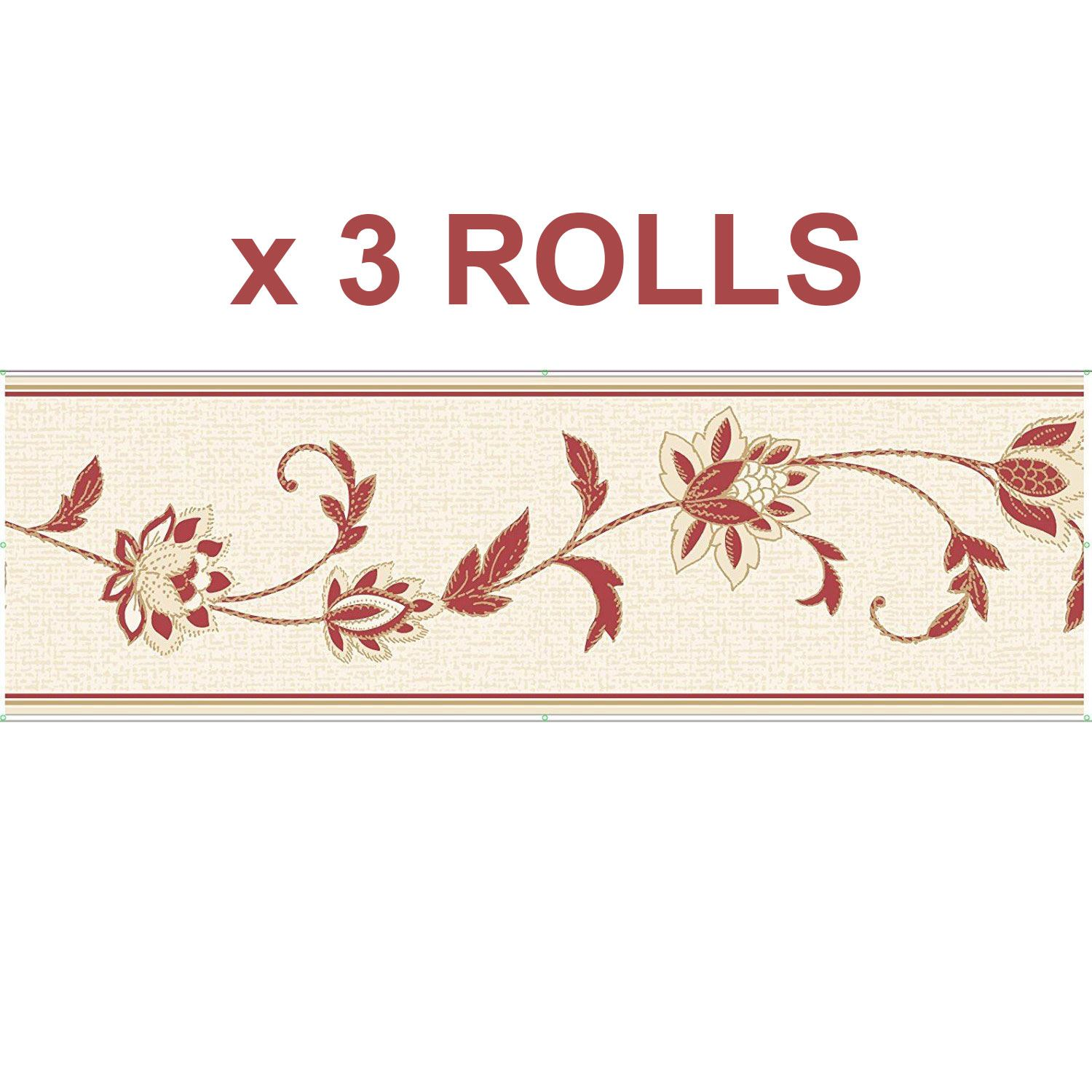 Red Cream Floral Stamps Wallpaper Border Wallpaper Borders