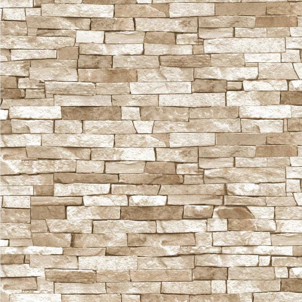 Erismann Rustic Brick 3D Effect Grey Beige Textured Feature Wallpaper