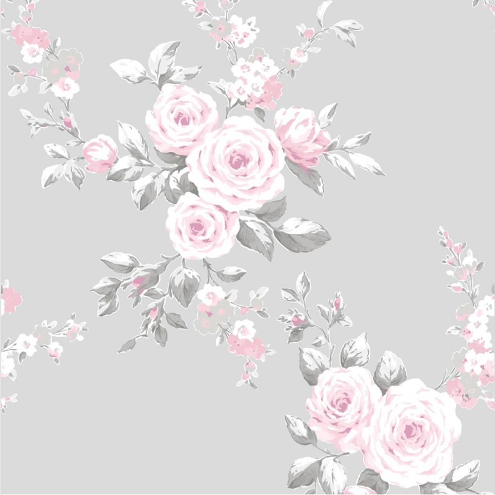 Catherine Lansfield Canterbury Grey Pink Floral Wallpaper White