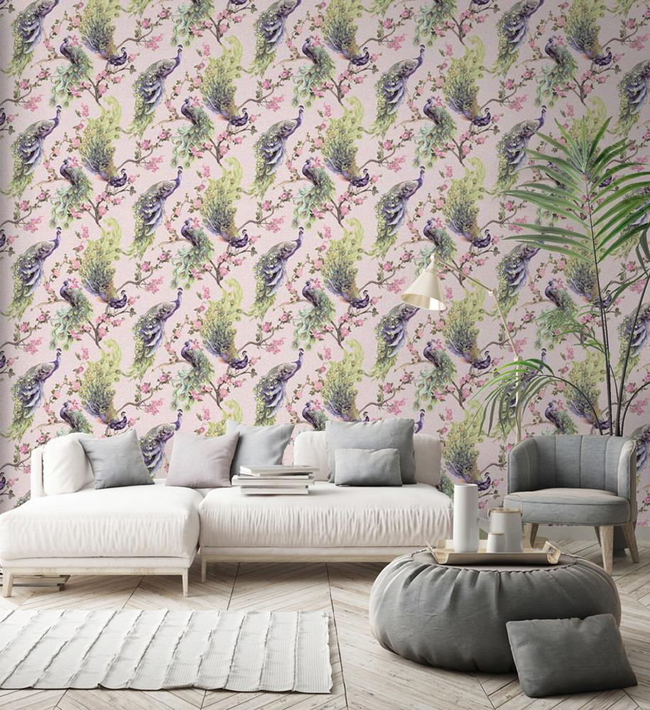 Peacock-Glitter-Wallpaper-Leaf-Floral-Vinyl-Animal-Print-Blue-Pink-Green-Grey thumbnail 13