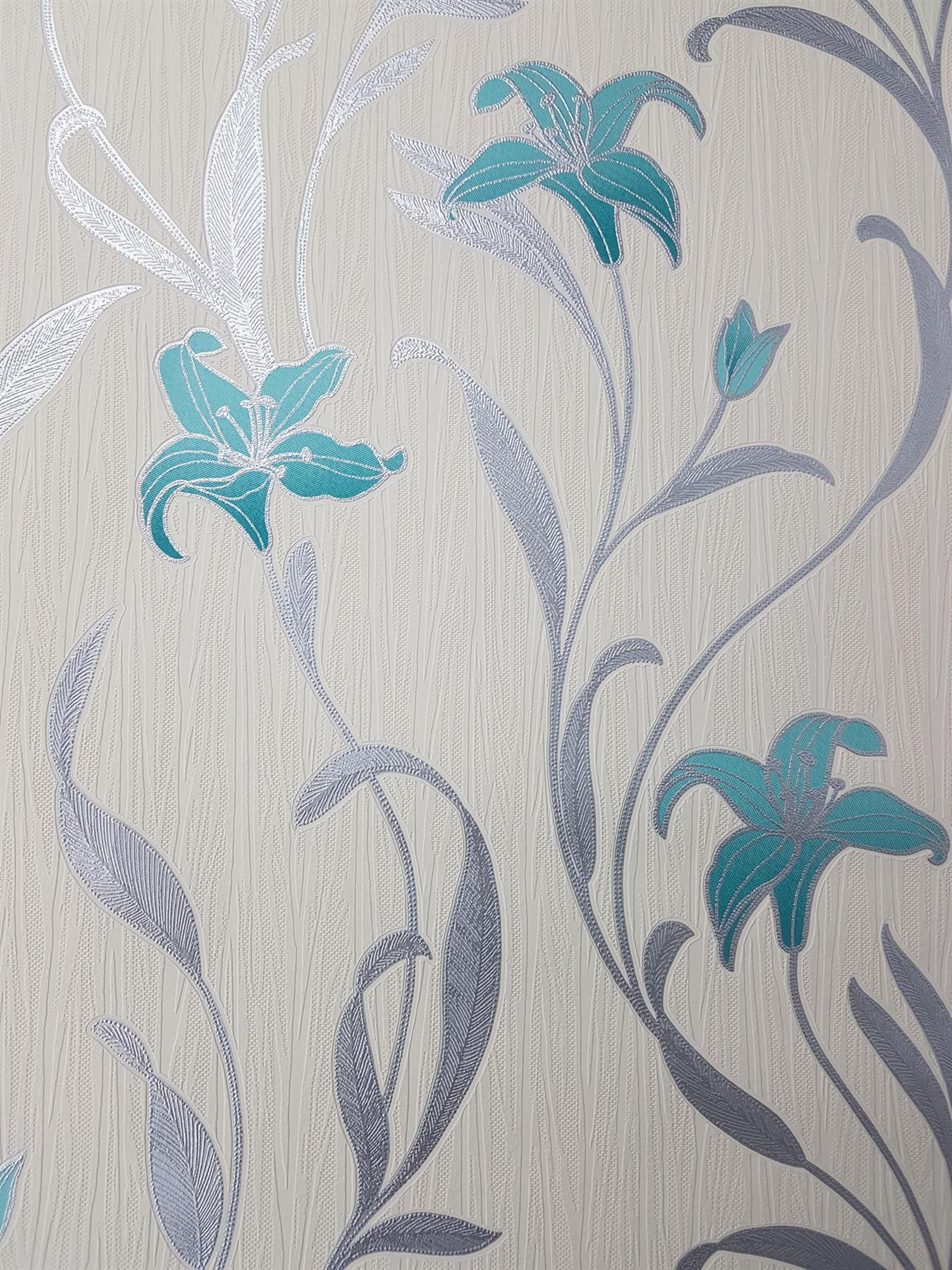 P S Teal Lily Floral Wallpaper Leaf Cream Silver Metallic Textured
