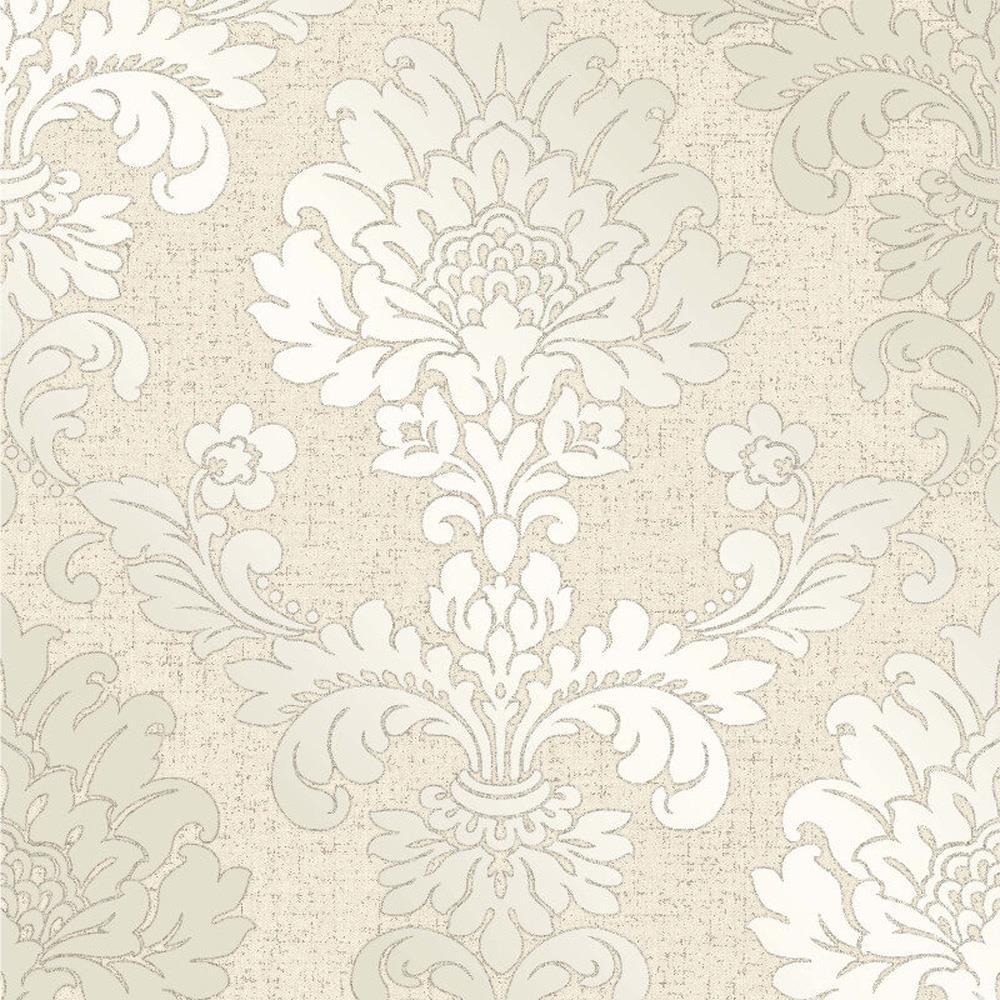 Fine Decor Quartz Cream Gold Glitter Damask Wallpaper Vinyl