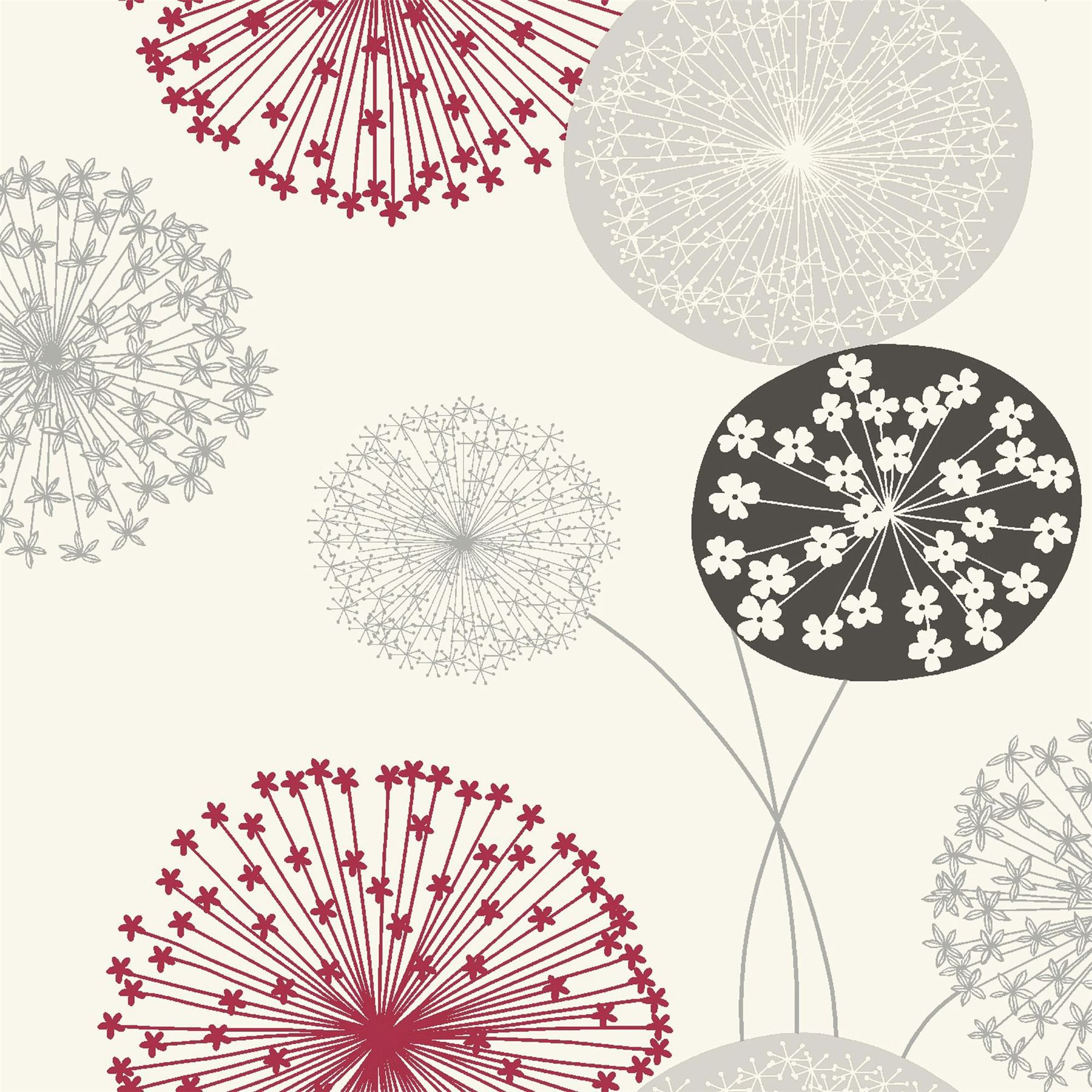 Large Dandelion Floral Wallpaper Flowers Cream Red Grey Black