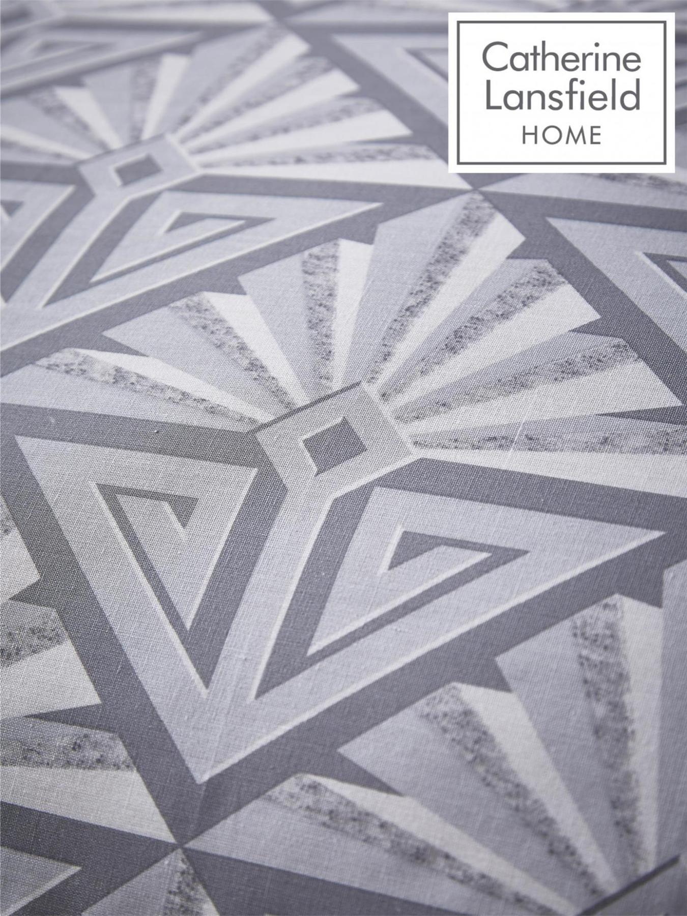 Catherine-Lansfield-Duvet-Set-Reversible-Art-Deco-Grey-Bedding-Pillows-Curtains thumbnail 21