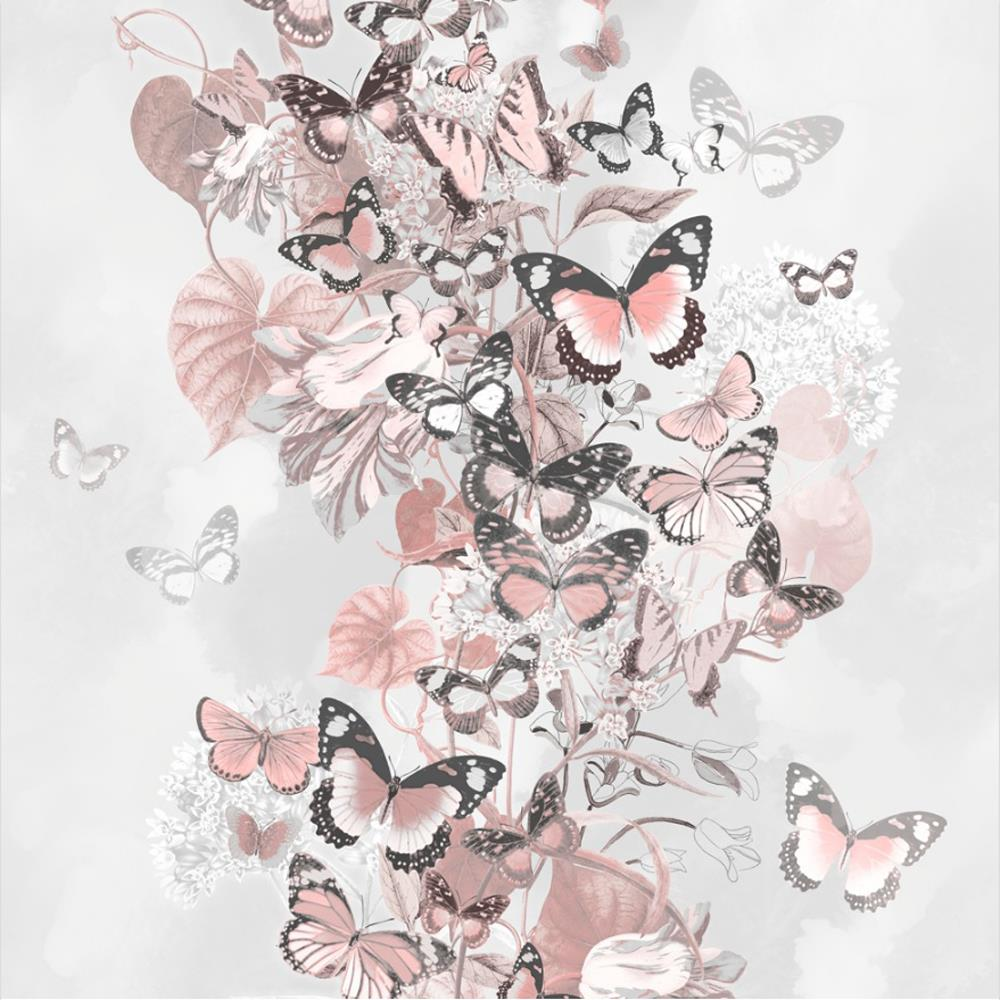 Muriva Summertime Rose Gold Grey Floral Butterfly Wallpaper