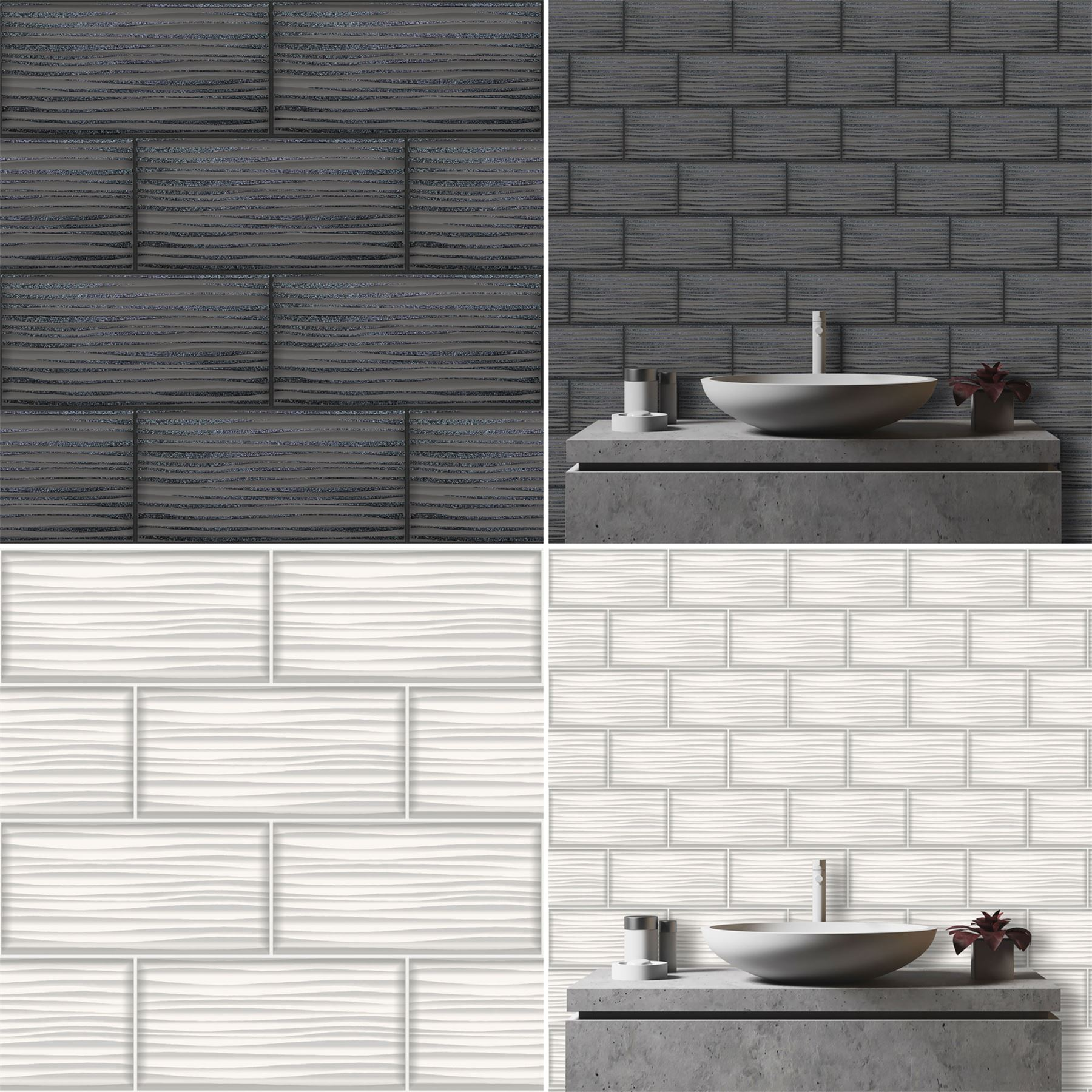 Wave Tile Wallpaper Tile Brick Glitter Kitchen Bathroom Embossed Vinyl Holden Ebay