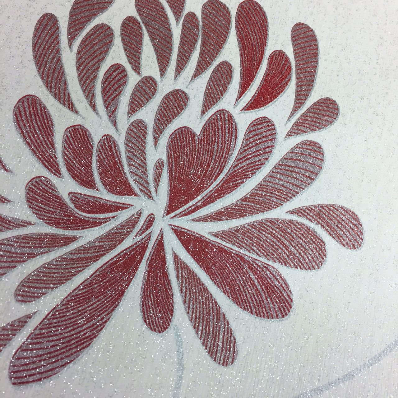 Flower Floral Metallic Glitter Wallpaper Luxury Textured