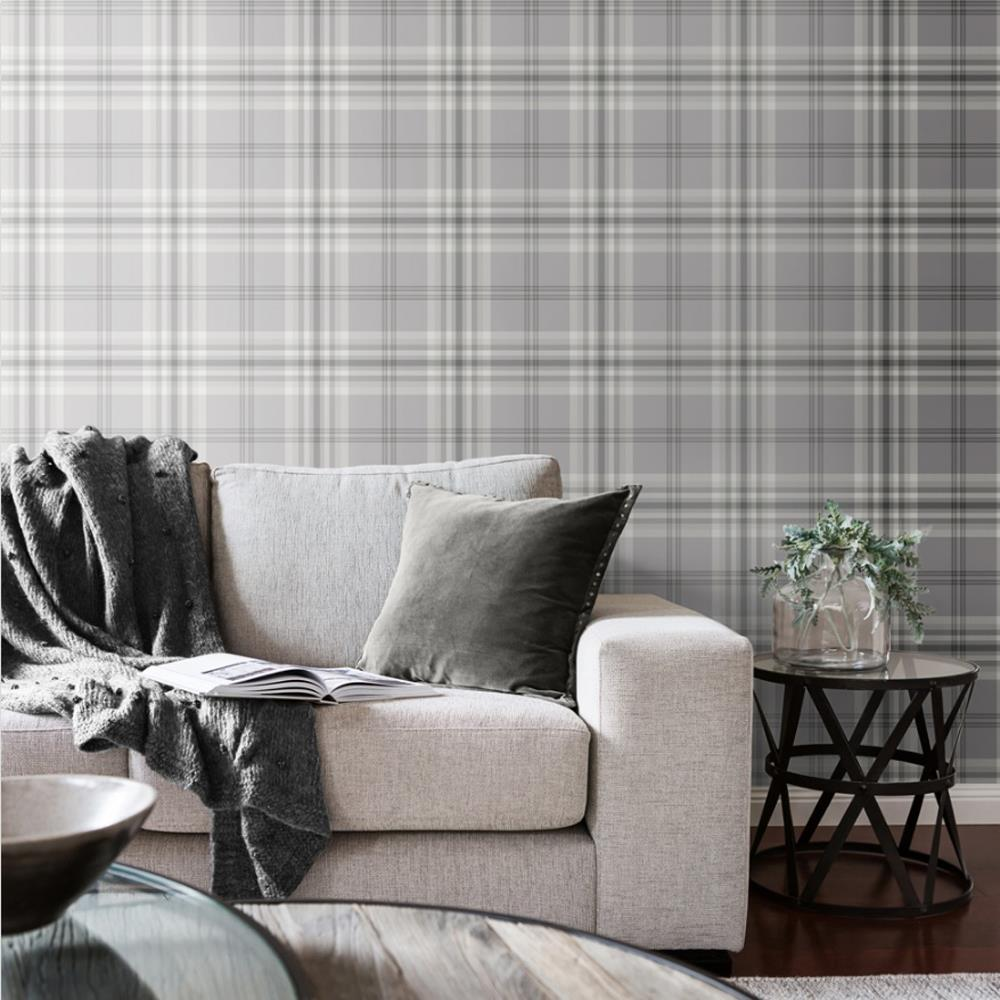 Yellow-Grey-Charcoal-Taupe-Check-Wallpaper-Country-Tartan-Plaid-Muriva-Kelso thumbnail 7