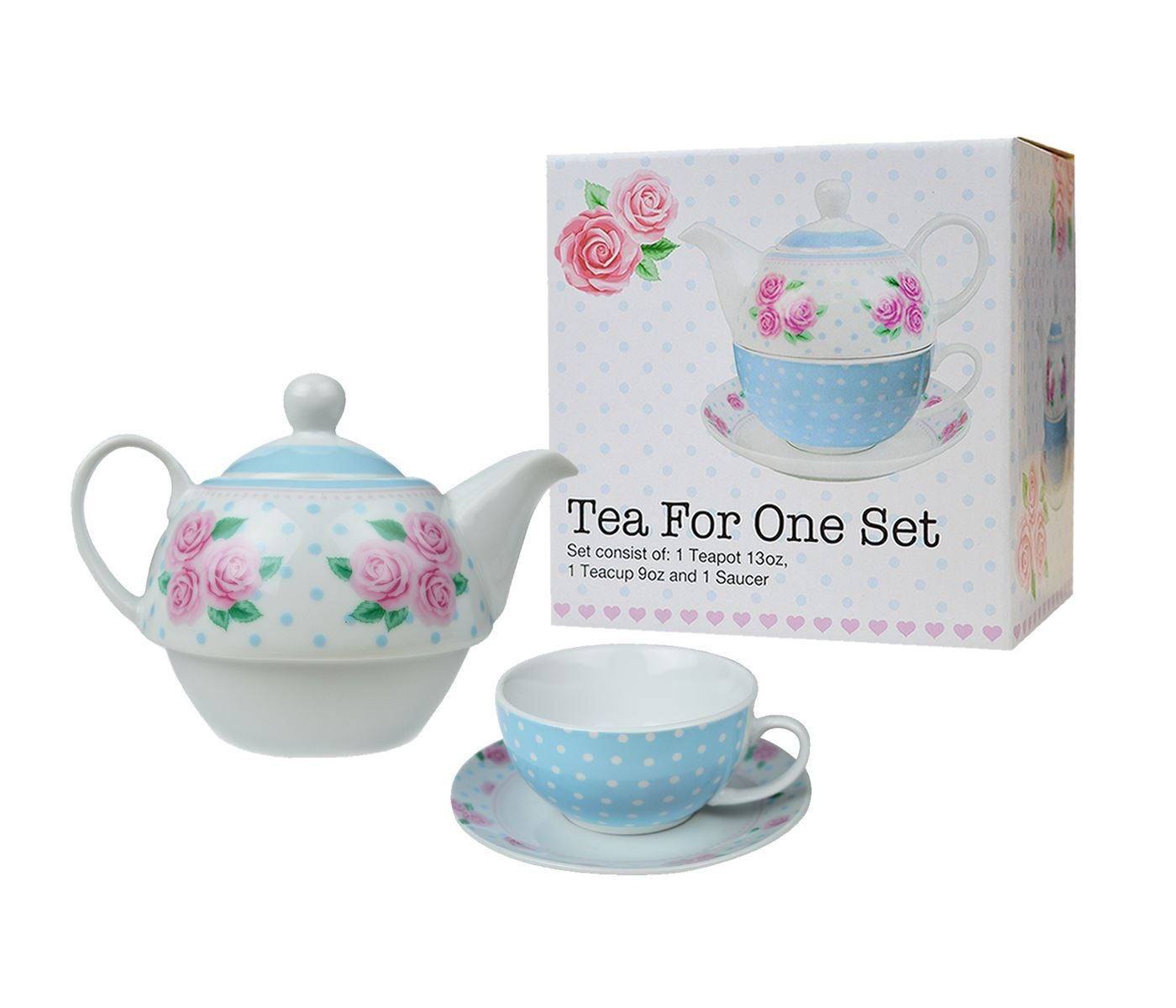 Tea For One Set 3pcs Porcelain Party Tableware Mugs Saucer Tea Pot Stacked Cup Ebay