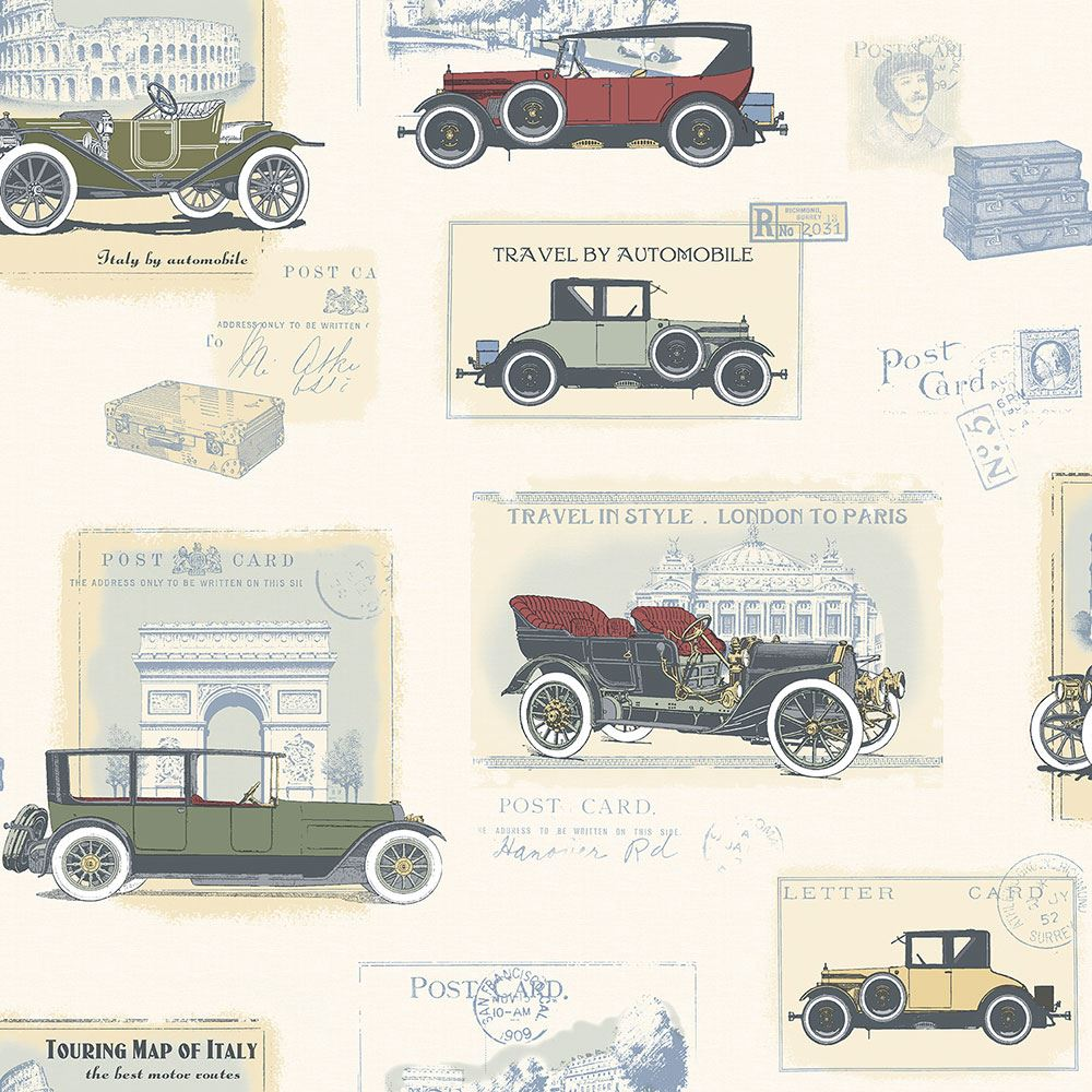 Retro Old Vintage Car Wallpaper Postcards Red Green Yellow Paste