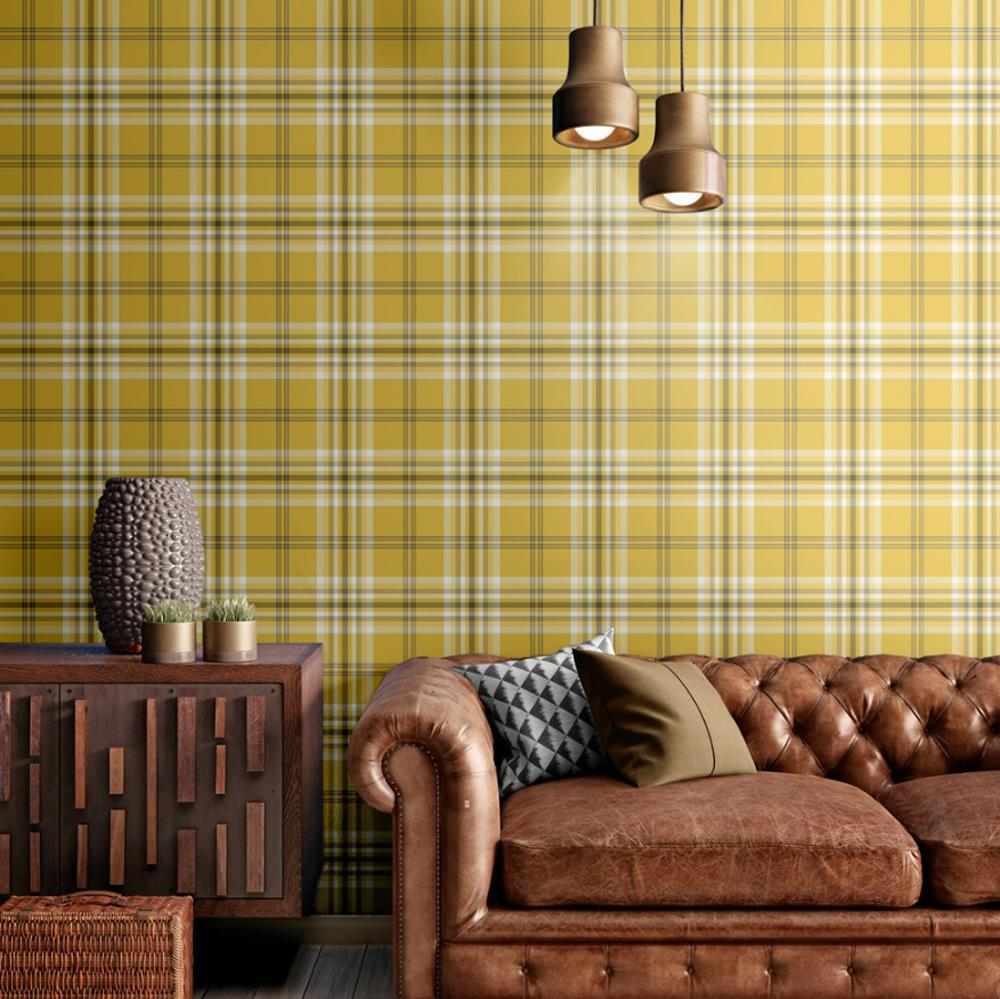 Yellow-Grey-Charcoal-Taupe-Check-Wallpaper-Country-Tartan-Plaid-Muriva-Kelso thumbnail 13