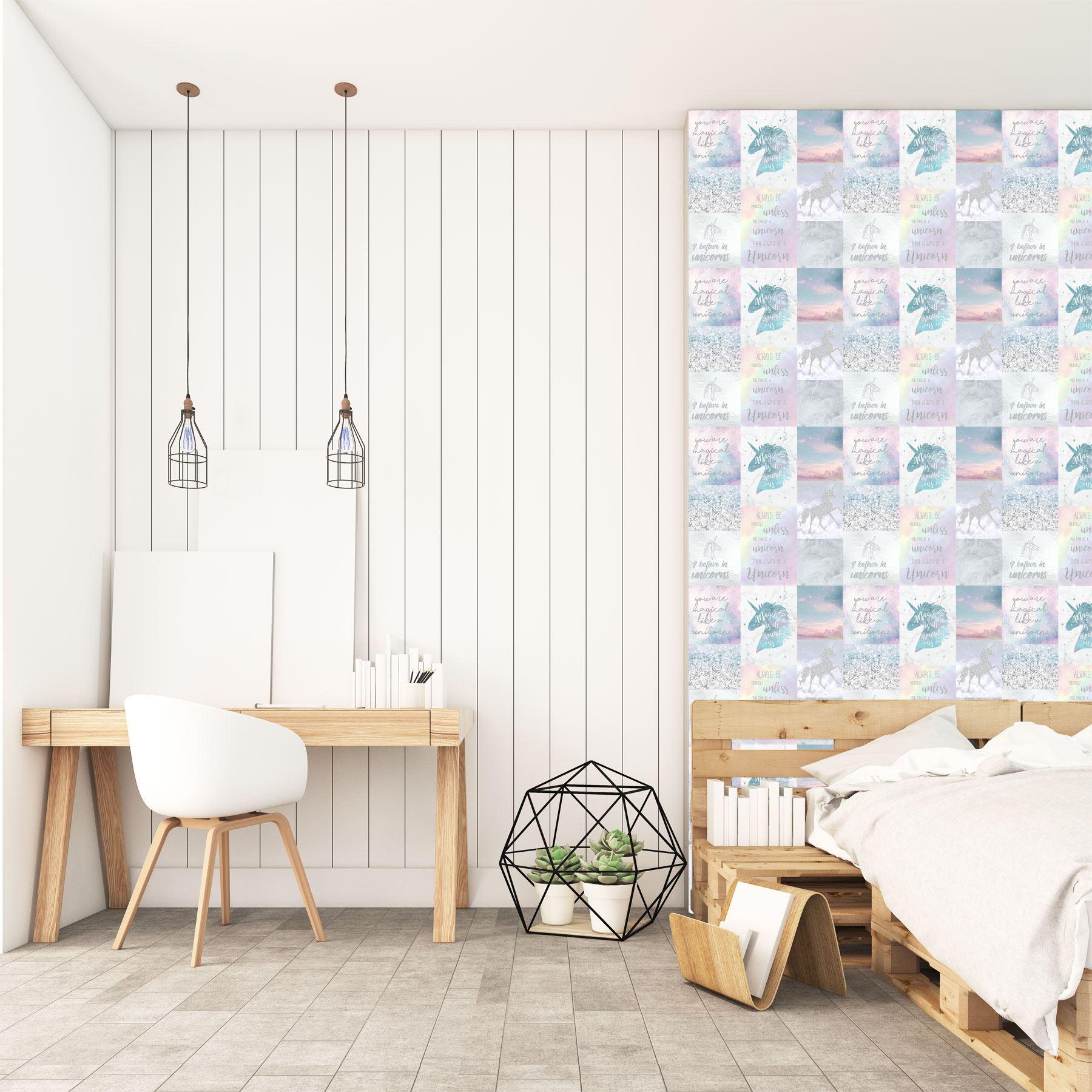 Girls-Unicorn-Wallpaper-Children-039-s-Pink-White-Glitter-Rainbow-Butterflies-Floral thumbnail 26