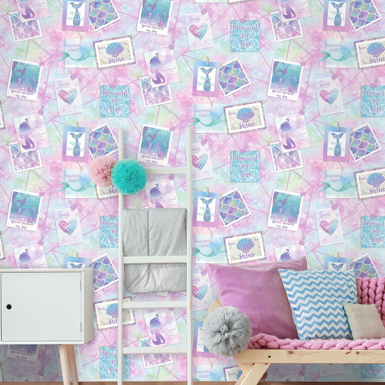 Be More Mermaid Wallpaper Collage Hearts Shells Scales Glitter Nautical Holden
