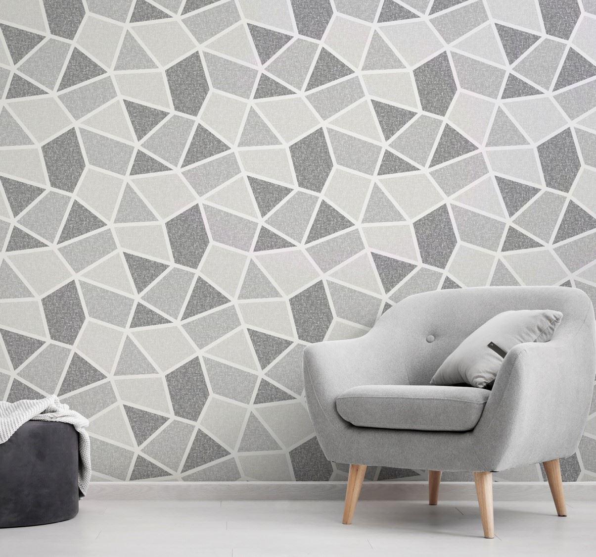 Detalles De Papel Pintado Lujo Textura Mono Corona Geométrico Vinilo Gris Salón Dormitorio Ver Título Original