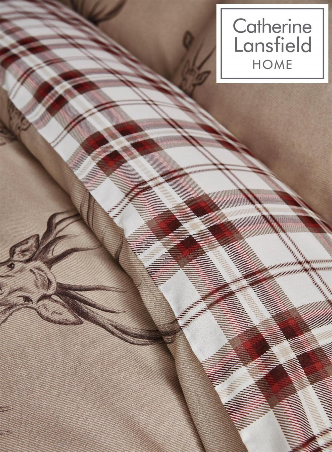 Catherine-Lansfield-Duvet-Set-Highland-Stag-Reversible-Check-Bedding-Mushroom thumbnail 8