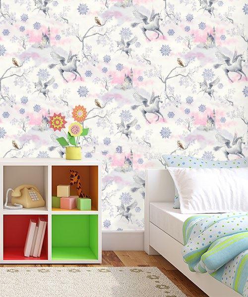 Girls-Unicorn-Wallpaper-Children-039-s-Pink-White-Glitter-Rainbow-Butterflies-Floral thumbnail 22