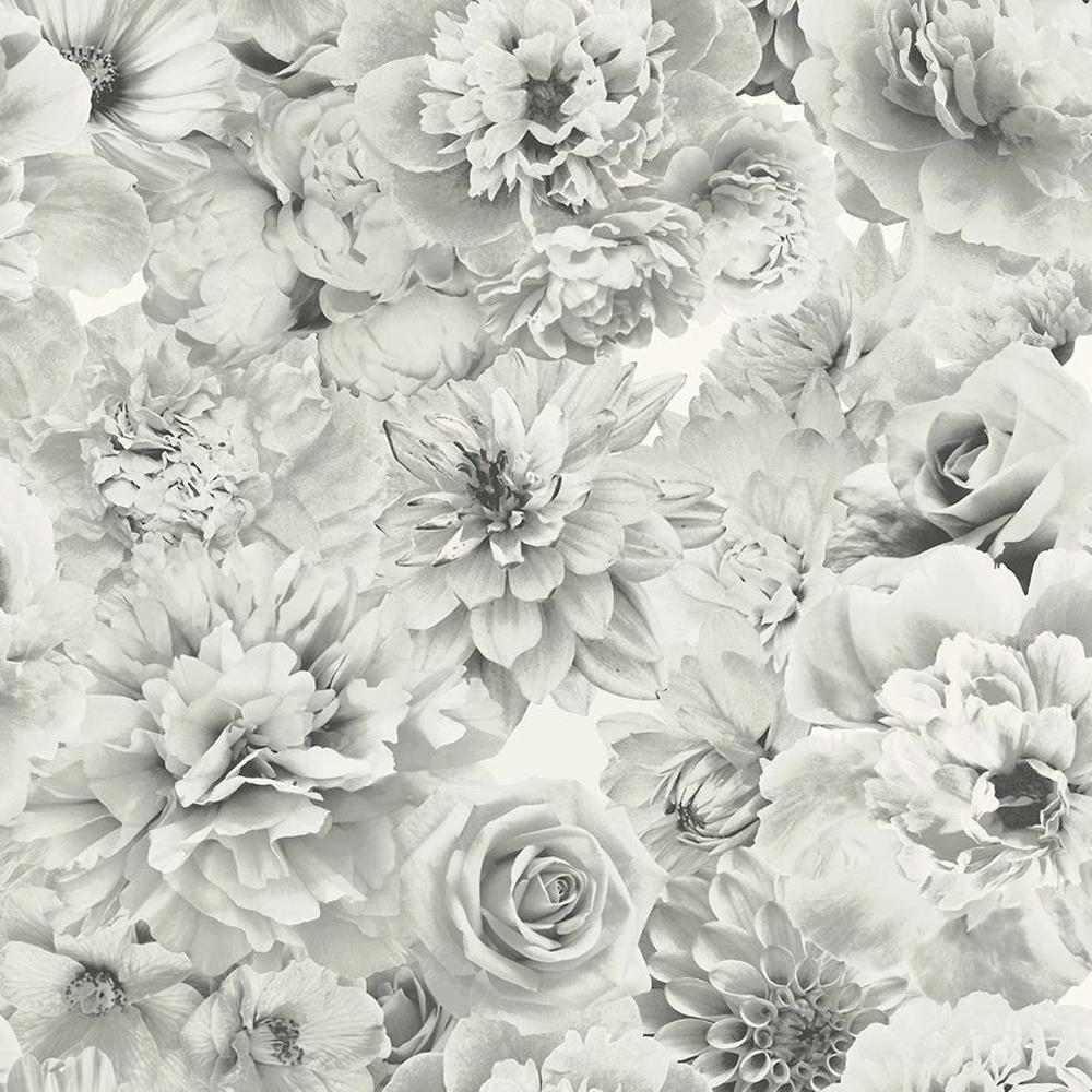 Glitter Bloom Floral Wallpaper Silver Grey White Flowers Botanical
