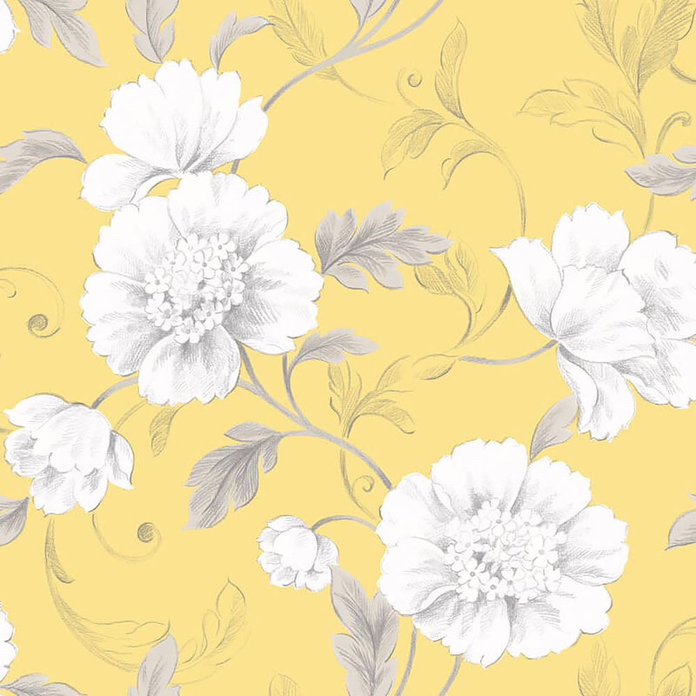 Rasch Boutique Floral Flowers Yellow Wallpaper Leaf Trail Grey