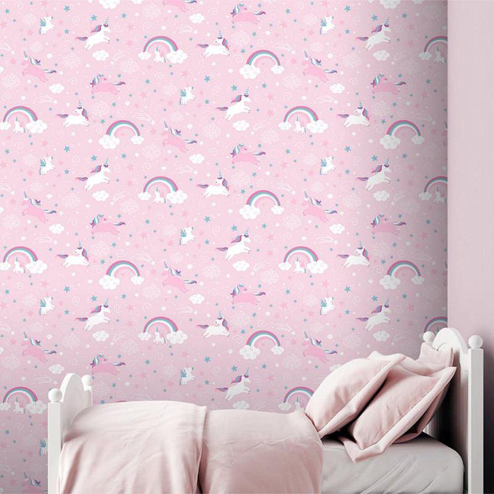 Girls-Unicorn-Wallpaper-Children-039-s-Pink-White-Glitter-Rainbow-Butterflies-Floral thumbnail 16