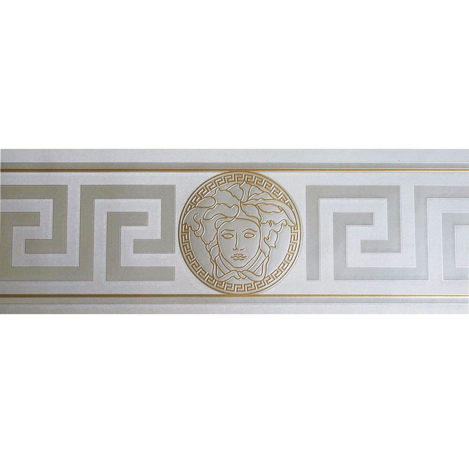 Silver Gold Versace Wallpaper Border Modern Satin Greek Key