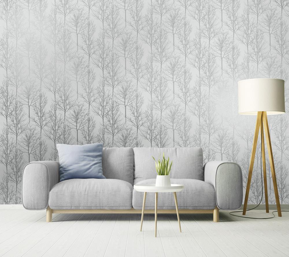 Grey Silver Rose Gold Trees Wallpaper Metallic Shine Holden Decor Rhea Zandra Ebay