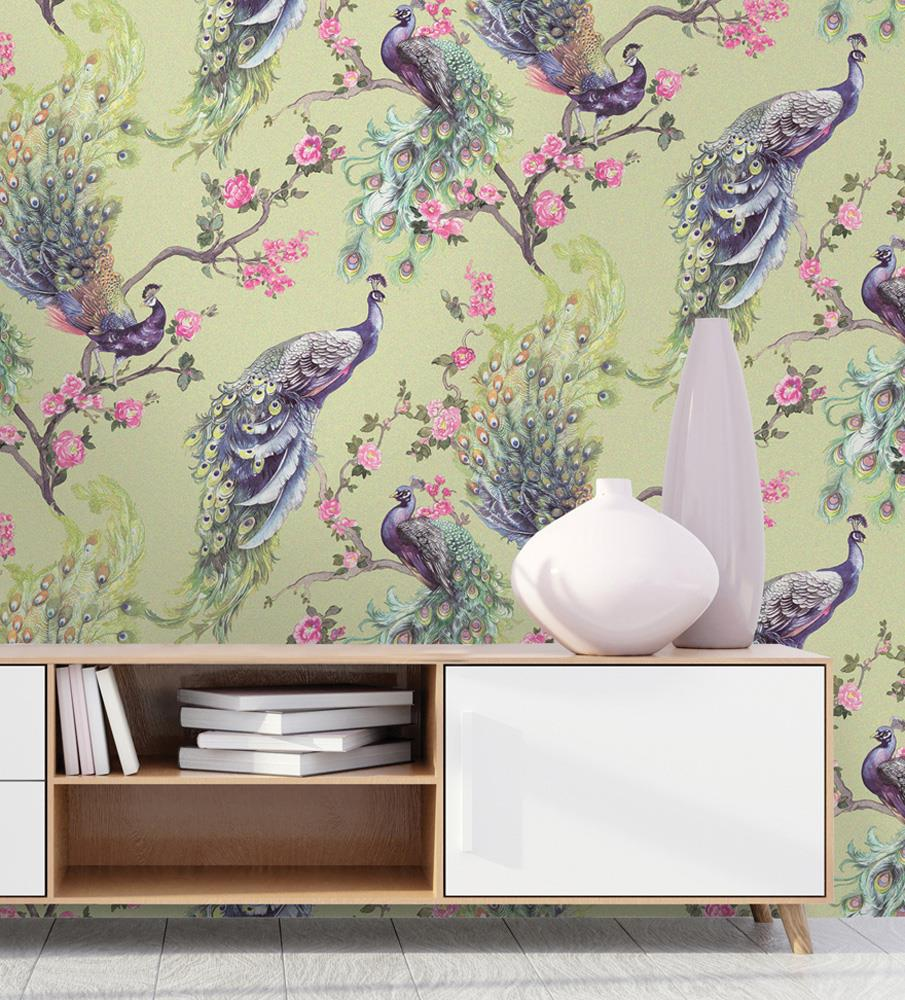 Peacock-Glitter-Wallpaper-Leaf-Floral-Vinyl-Animal-Print-Blue-Pink-Green-Grey thumbnail 4