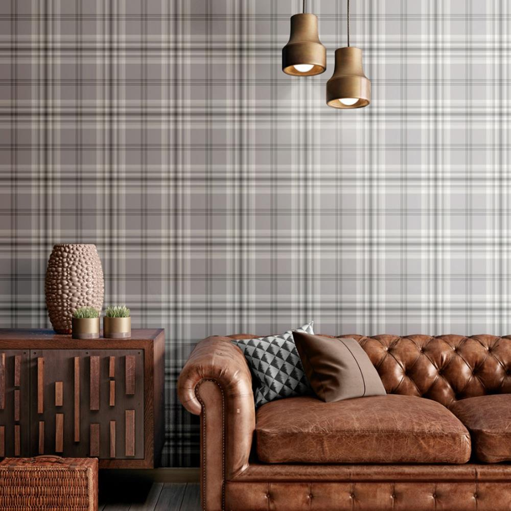 Yellow-Grey-Charcoal-Taupe-Check-Wallpaper-Country-Tartan-Plaid-Muriva-Kelso thumbnail 6