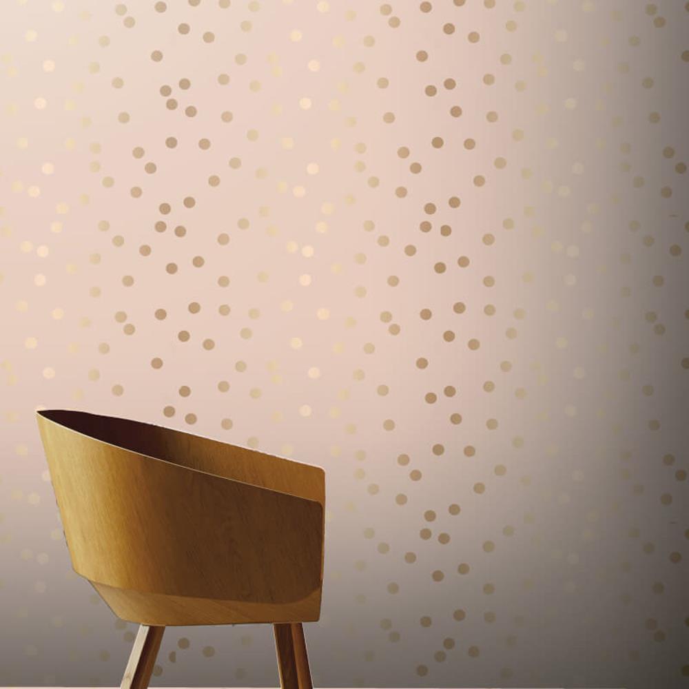 Arthouse 685000 Dotty Blush Pink Rose Gold Metallic Spot Wallpaper