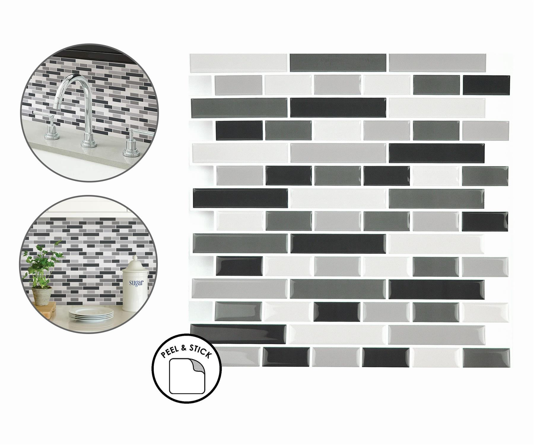 Smoked Glass Backsplash Tiles Peel Stick 4pcs White Grey Black Wall Stickers Ebay