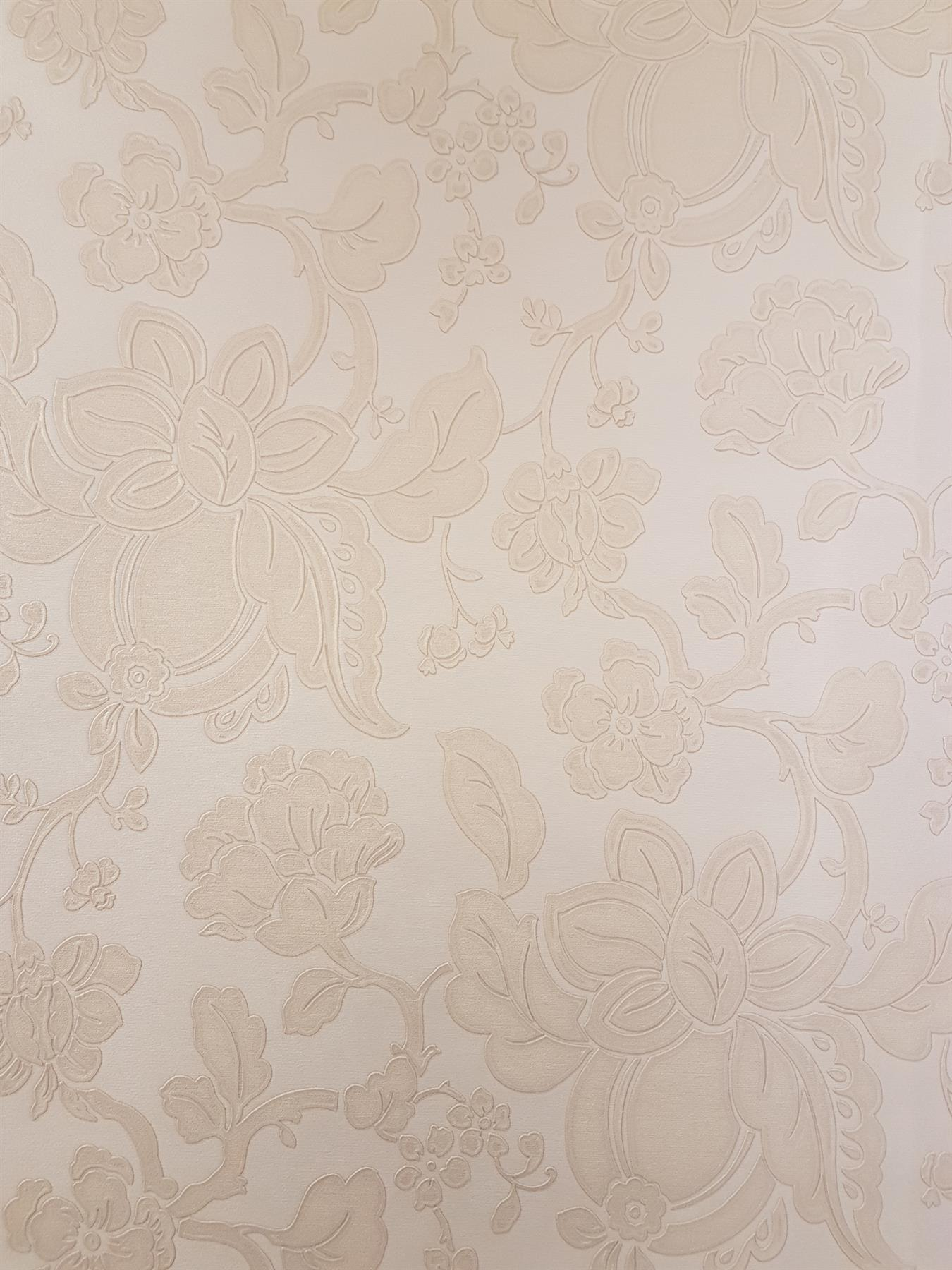 Cream Beige Floral Wallpaper Glitter Gold Flowers Italian Vinyl
