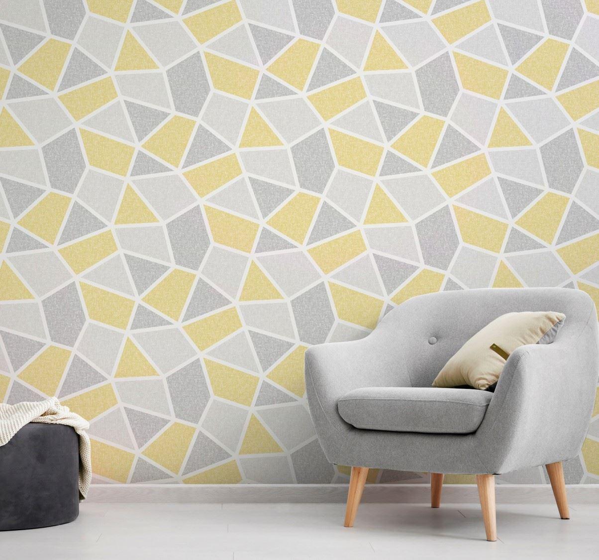 Crown Geometric Wallpaper Luxury Textured Vinyl Modern