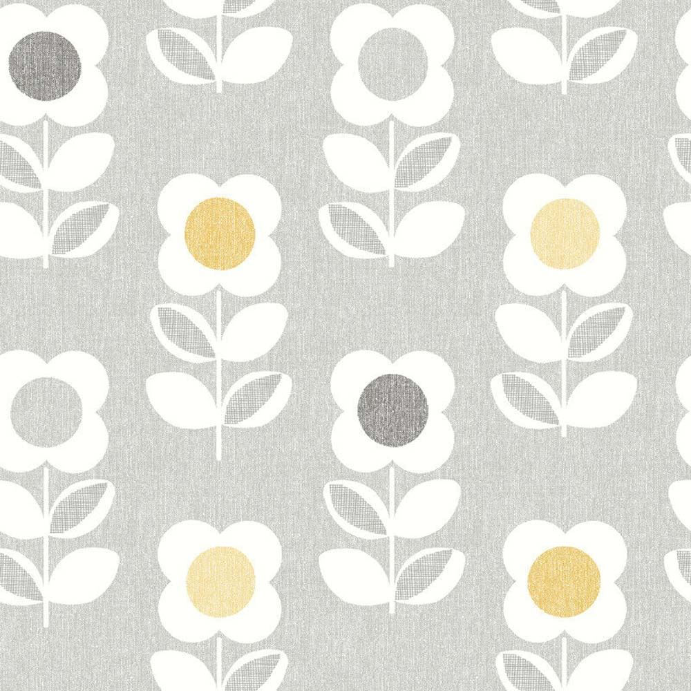 Retro Floral Wallpaper Arthouse Bright Flower Grey Yellow Feature Vintage Luxury 5050192901970 Ebay