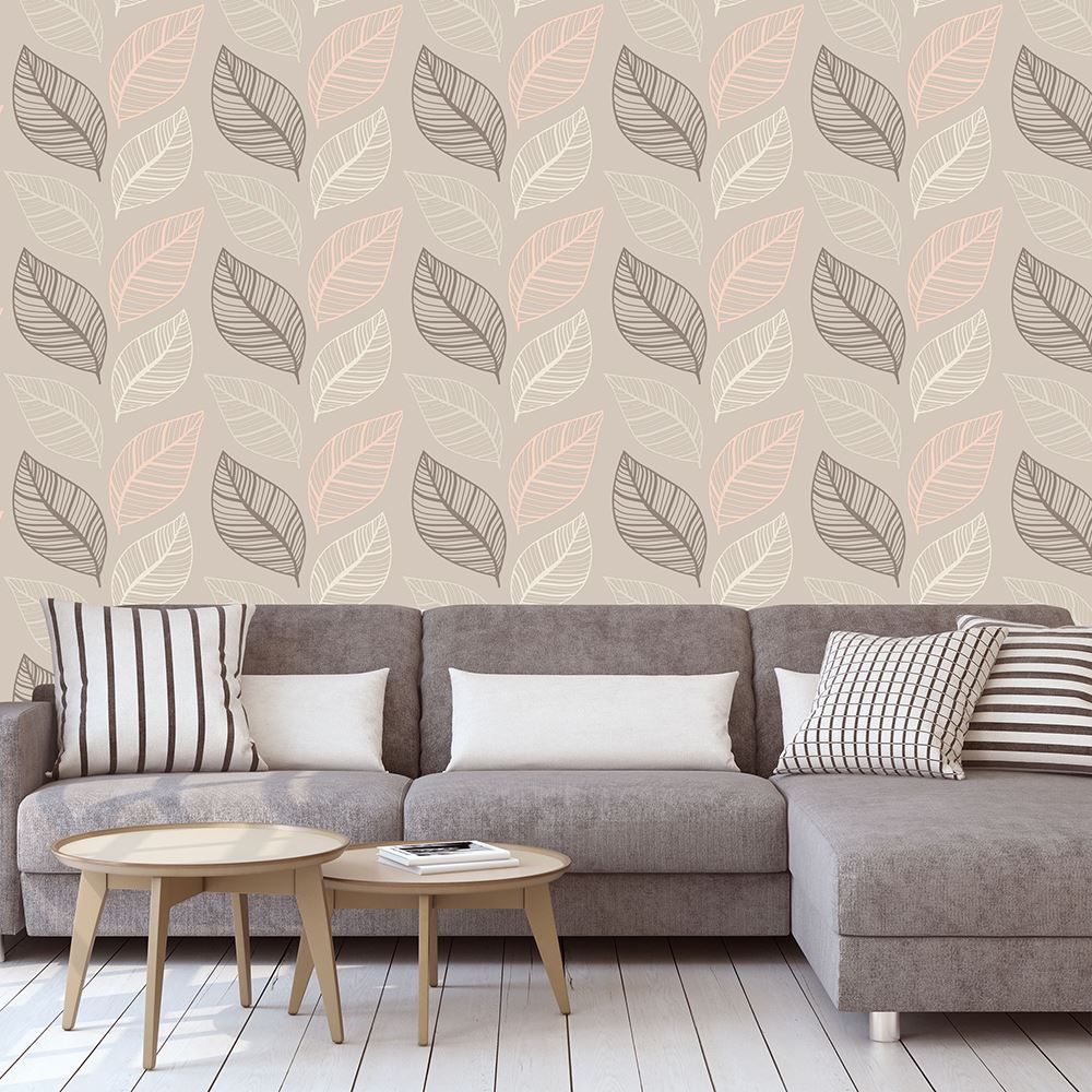 Metallic Glitter Effect Large Leaf Floral Wallpaper Blush Taupe Yellow Charcoal