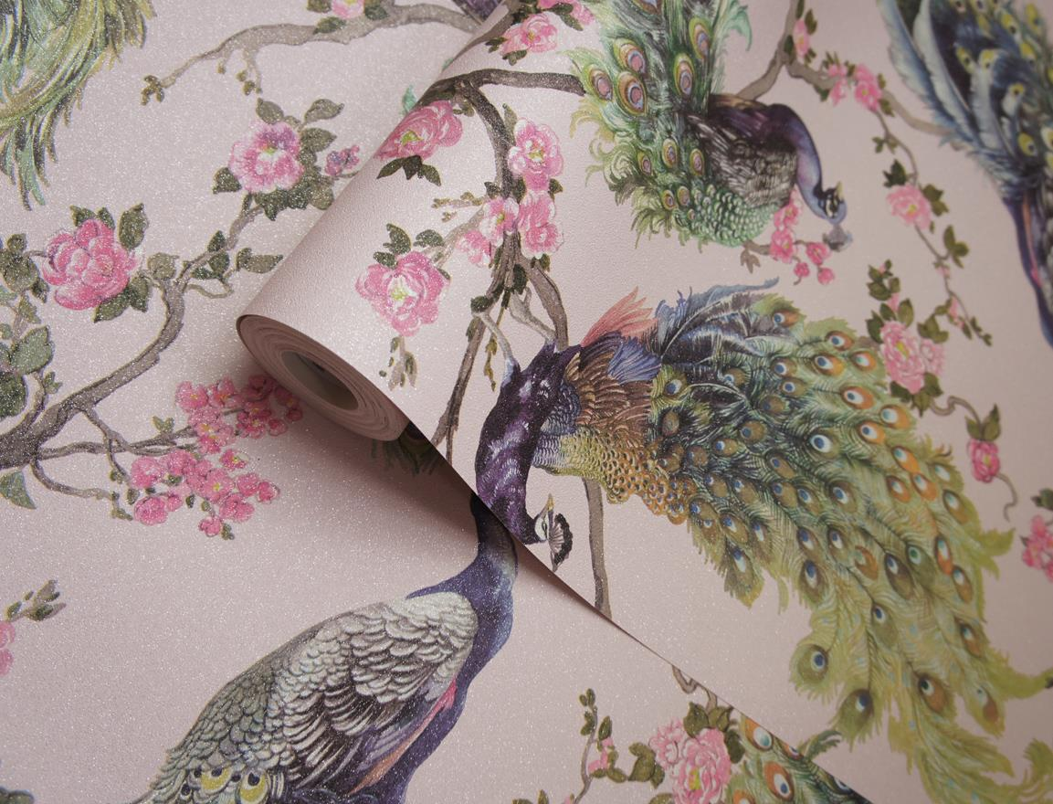 Peacock-Glitter-Wallpaper-Leaf-Floral-Vinyl-Animal-Print-Blue-Pink-Green-Grey thumbnail 12
