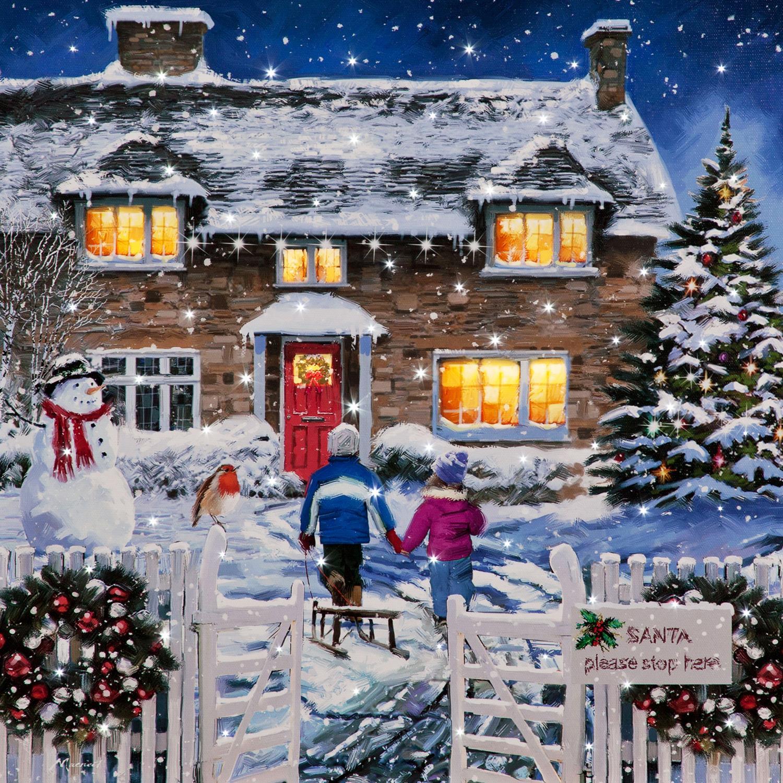 Christmas Scene.Details About Christmas Scene Canvas Wall Art Led Fibre Optic 40x40cm Xmas Winter Decor
