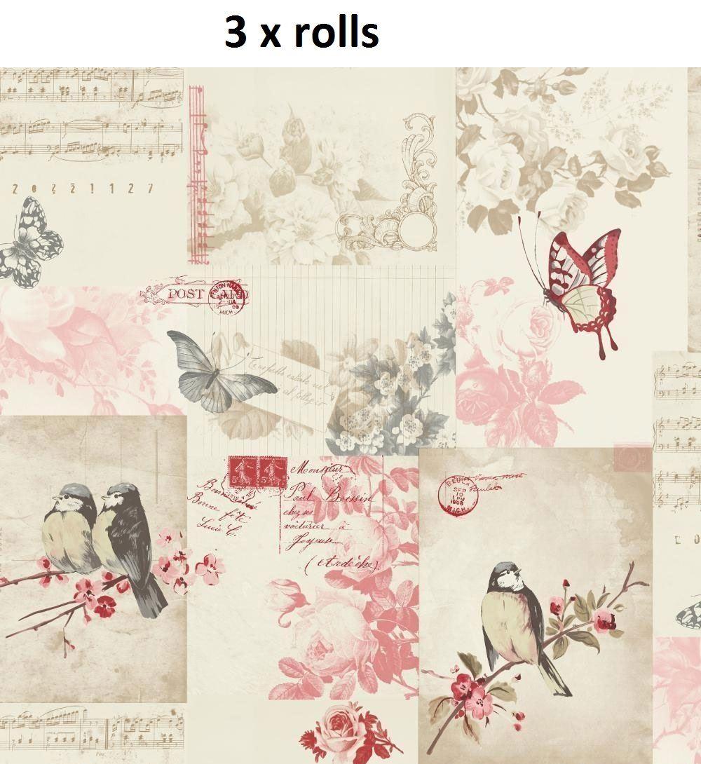 3 x Songbird Papier Peint Animaux Oiseaux Nature Collage Fleurs Floral Cranberry