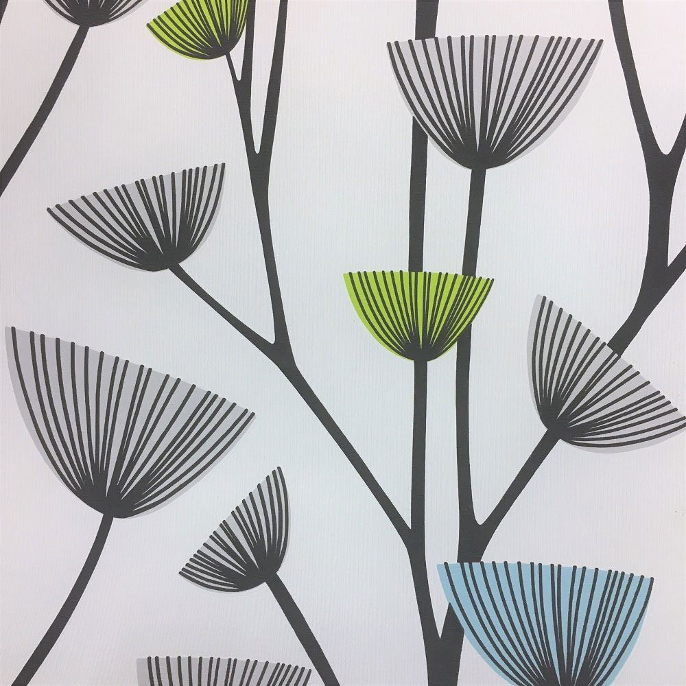 Flower Floral Dandelion Blue & Green Wallpaper Textured ...
