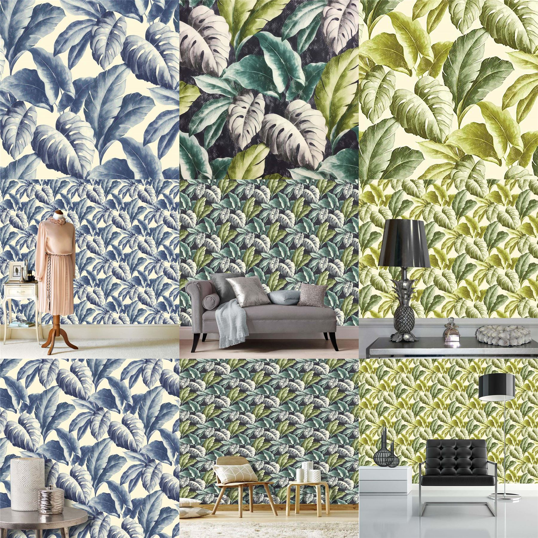 Vinyl Wallpaper Botanical Tropical Leaves Pattern Tree Textured Motif Green Blue
