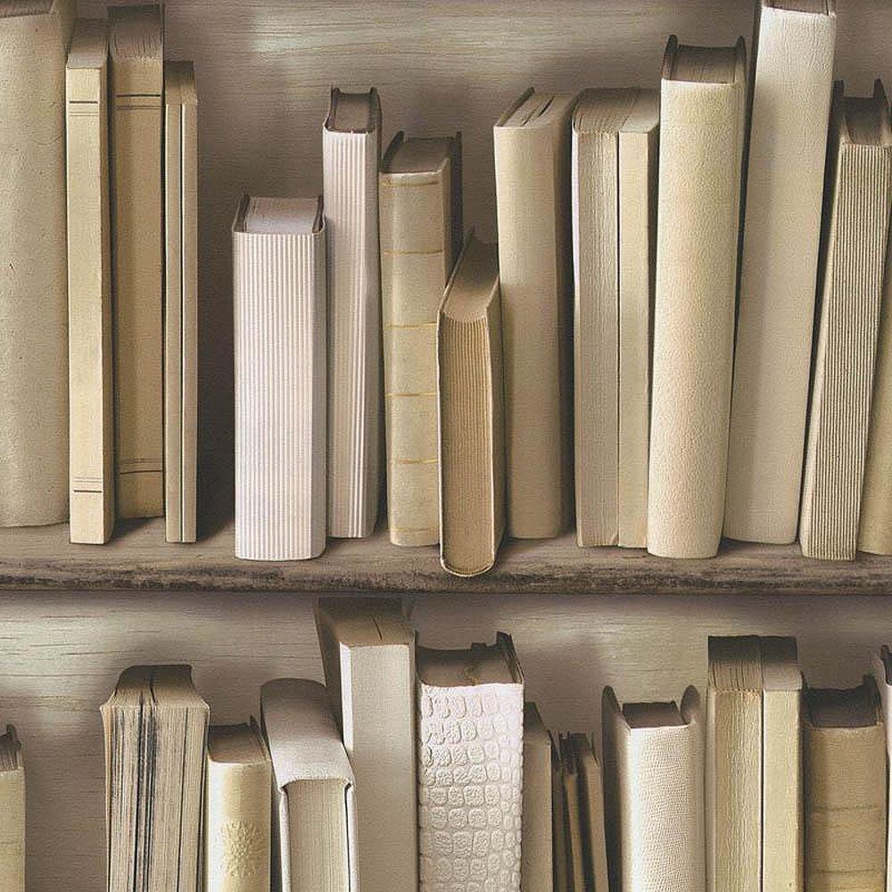 Details About 3d Effect Bookcase Books Shelf Wallpaper Study Vinyl Textured Beige Brown Cream