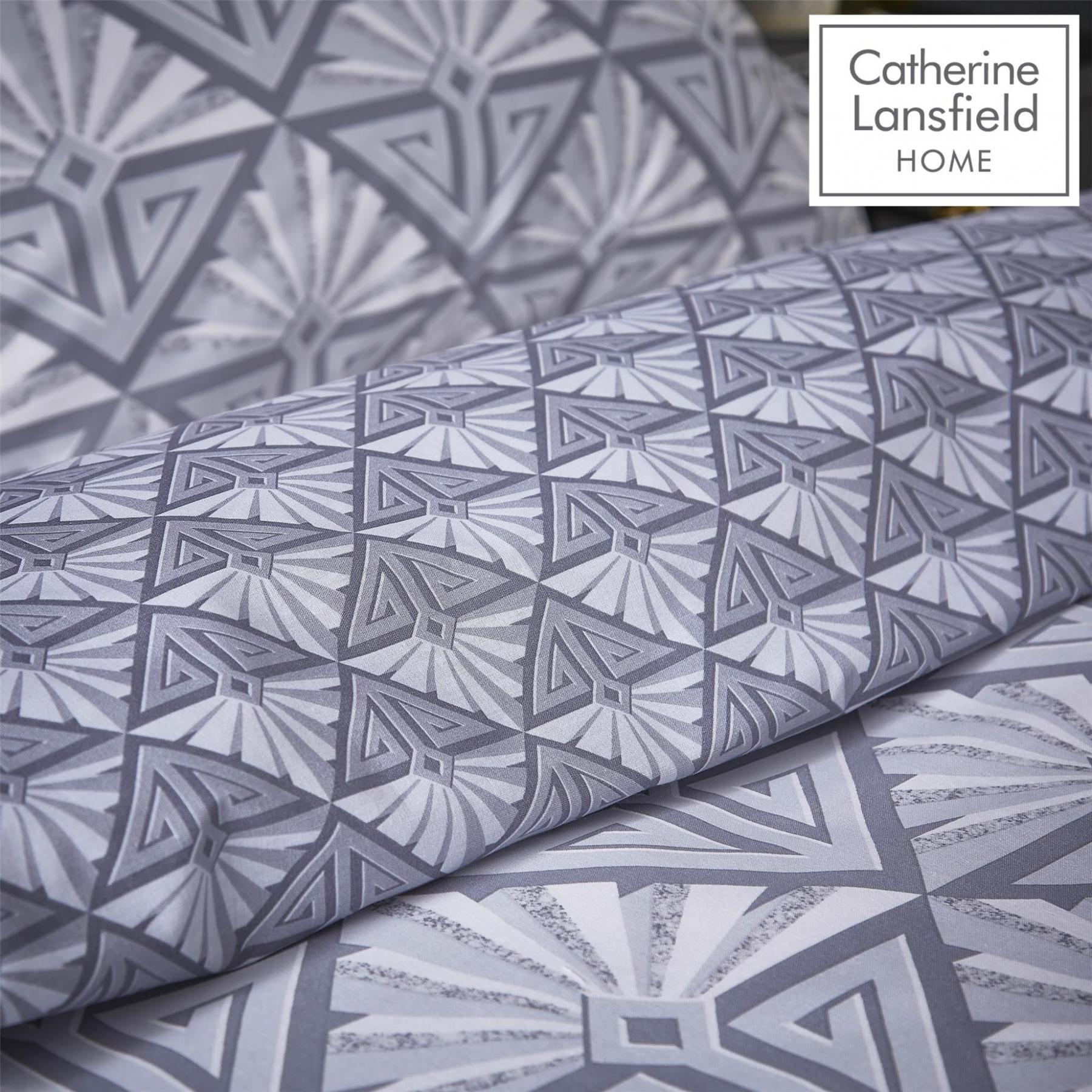 Catherine-Lansfield-Duvet-Set-Reversible-Art-Deco-Grey-Bedding-Pillows-Curtains thumbnail 13
