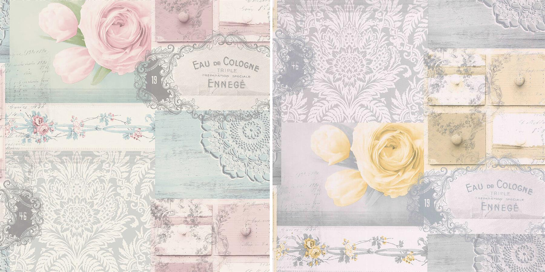 Decoupage Patchwork Floral Wallpaper Flowers Yellow Blue Pink