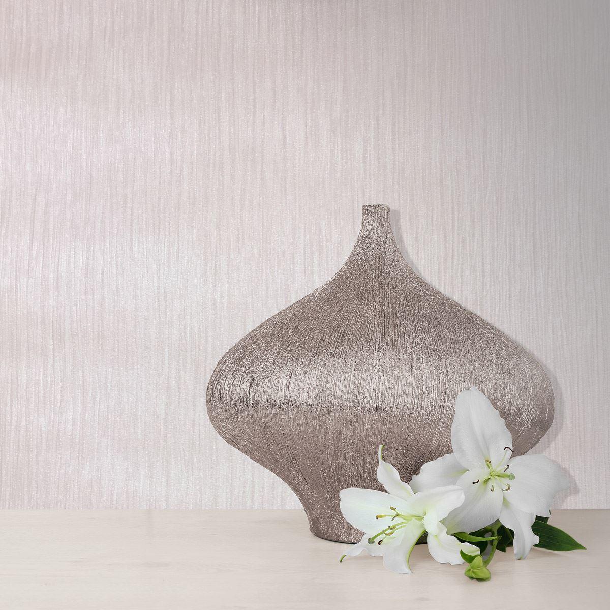 3 x Textured Fawn Rose Wallpaper Fabric Effect Linear Plain Shiny Finish Muriva