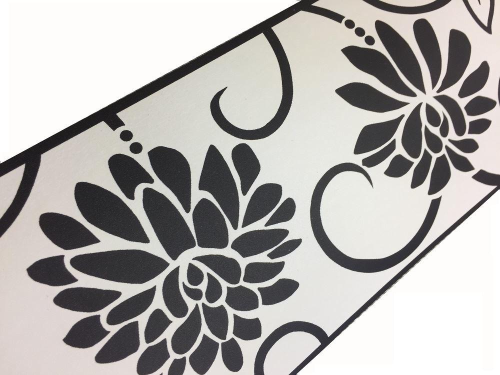 Black White Floral Wallpaper Border Flower Self Adhesive