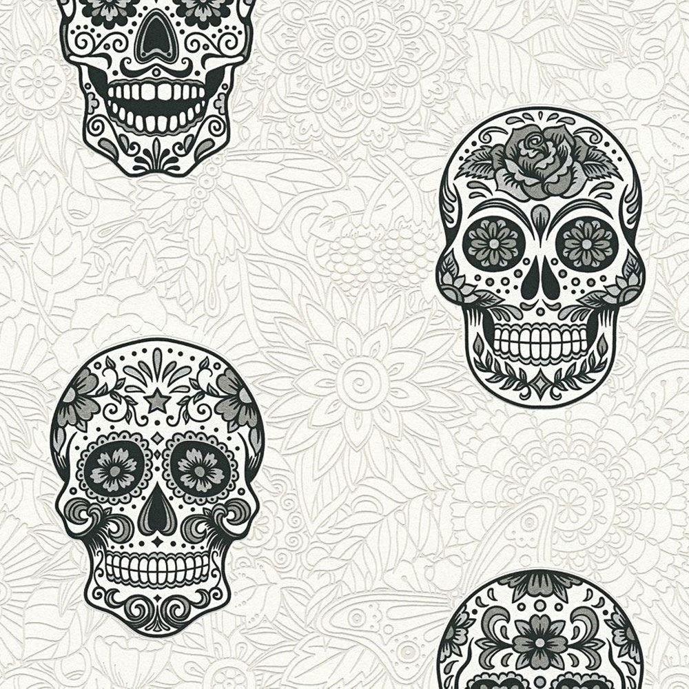 Sugar Skull Wallpaper Glitter Gothic Floral White Silver Black