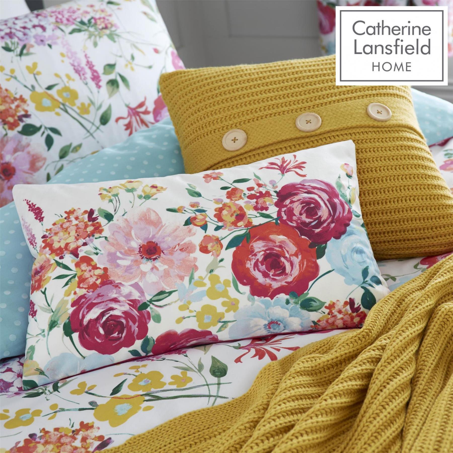 Catherine-Lansfield-biancheria-da-letto-Salisbury-Copripiumino-Set-Tende-Cuscino-Copriletto miniatura 19